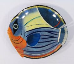 "Handpainted Fruit Plate Blue Wave Tropical Fish Design 6"" by star. $4.99"
