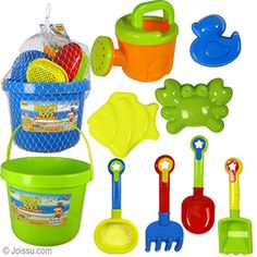 12 PIECE BEACH PLAY SETS. With a sand pail, digging tools, sand molds and a watering can, these are ideal to take to the beach or the sand box. Assorted colors. Each net bagged with hanger. Sizes 3.5 -9.5 Inches, sand pail 6.5 Inches plus handle