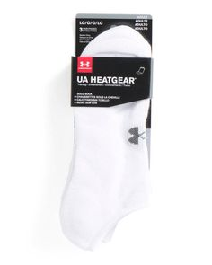 UNDER ARMOUR Men's 3 Pack UA Heatgear Solo Training No Show Socks White Size L #UnderArmour #TrainingNoShow