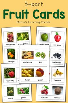 Download a set of fruit 3 part cards for your young learners! Includes many ideas for using in your own home.