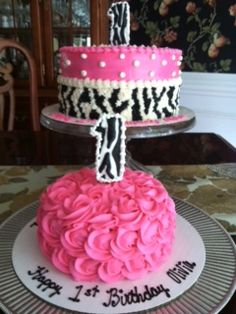 zebra, pink and white polka a dot theme, first birthday cake and cookie!