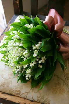Posh Wedding Bouquet Of Lily Of The Valley + Green Lily Of The Valley Foliage Hand Tied With A Dusty Pink Ribbon••••