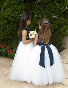 Navy and white flower girls