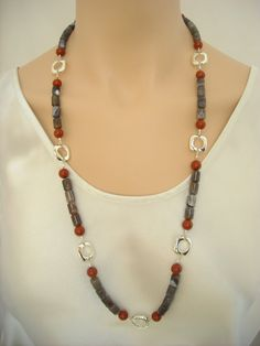 Gray banded agate and red jasper with sterling by SilverSerenade, $45.00