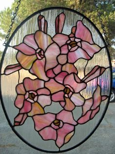 Pretty pink and yellow Petunia flowers by GlassyART on Etsy, $140.00