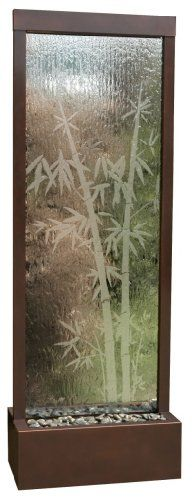 "Too low to display-$1,941.39 Gardenfall Botanica 90"" Center Mount Mirror Dark Copper - 90"" Floor fountain with center mount bamboo etched. Enhance your surroundings with the Gardenfall. The water flowing passed polished river rock creates a mood of serenity as it humidifies and cleanses the air, promoting a healthier living environment. Model GF83B features a glass-etched bamboo design and dark c ..."