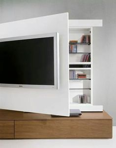 I've spent weeks trying to figure out the best way to wall-mount my TV in the living room (Elegant Behind TV Storage Ideas That Are Secret Places). Living Room Tv, Tiny Living, Home And Living, Interior Design Living Room, Living Room Designs, Muebles Living, Tv Storage, Hidden Storage, Storage Ideas