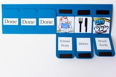 simple idea for a chore/activity/schedule/routine chart. no markers, no pieces to lose My Name Is Snickerdoodle: Chore Chart Tutorial Routine Chart, Visual Schedules, Visual Timetable, Behaviour Chart, Charts For Kids, Raising Kids, Life Skills, Kids Learning, Planer