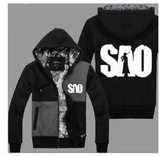 Anime Sword Art Online Kirito Jacket Hooded Sweatshirt Cosplay Hoodie#R09
