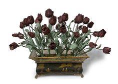 A pair of Black Tulip arrangements in antique painted tole containers. Each arrangement consists of 34 porcelain Tulips. One arrangement shown. Porcelain and tole. Rose Petal Jam, Rose Petals, Antique Paint, Antique Vases, Misty Day, Black Tulips, Fine Linens, Japanese Artists, Flower Making