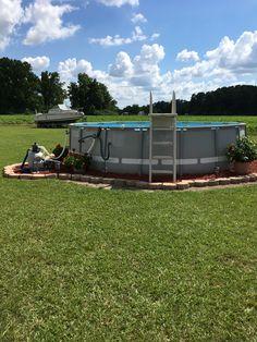 Intex pool landscape ideas ideas for 2019 Above Ground Pool Landscaping, Backyard Pool Landscaping, Modern Landscaping, Intex Pool, Rectangular Pool, Diy Pool, Outdoor Fun, Outdoor Stuff, Outdoor Decor