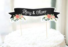 printable chalkboard ribbon cake topper http://weddingwonderland.it/2015/07/10-cake-topper-fatti-a-mano.html