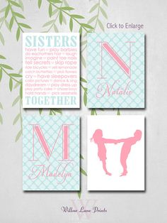 Monogram Nursery Decor, Sisters Monogram Wall Art, Pink and Turquoise Nursery, Twins Baby Gift, New baby Gifts, little girls room decor on Etsy, $55.02 AUD