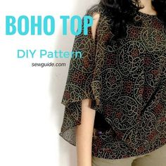 Make an Easy Batwing Sleeved Boho Top - Free sewing pattern - Sew Guide Blouse Pattern Free, Poncho Pattern Sewing, Sewing Patterns Free, Top Pattern, Free Sewing, Clothing Patterns, Sewing Ideas, Free Pattern, Sewing Projects