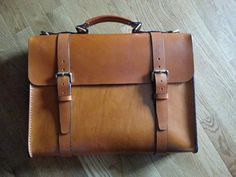 "Leather Briefcase Handmade (Large) ""The Daddy Bear 2 Buckle"" Tan 
