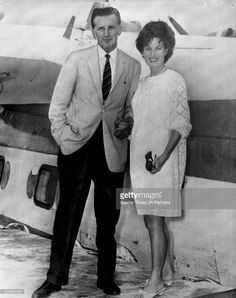 Off On Honeymoon Flight - Screen star Maureen O'Hara and airline pilot Charles Blair pause beside one of his sea planes after their marriage yesterday at Charlotte Amalie, U.S. Virgin Islands. They then flew to Blair's new home on nearby St. Croix. It was Miss O'Hara?s second marriage. She was divorced from film director Will Price in 1952 After an 11-year marriage. 68