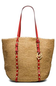 MICHAEL Michael Kors 'Large' Studded Straw Shopper available at #Nordstrom