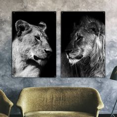 Lion And Lioness, Lion Of Judah, Animal Art Prints, Animal Paintings, Couple Lion, Lion Poster, Bedroom Decor For Couples, Simple Line Drawings, Bedroom Posters