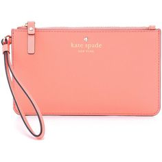 Kate Spade New York Slim Bee Wristlet featuring polyvore, fashion, bags, handbags, clutches, wallets, accessories, guava, leather handbags, leather purse, leather clutches, red leather purse and red leather handbag