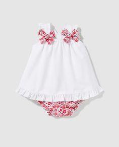 Vestido de bebé niña Dulces en blanco con lazos