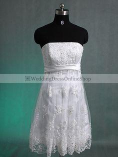 Short Wedding Dress #short #wedding #dress (would add a  long skirt for ceremony then detach it for reception picnic )