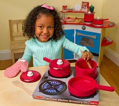 Play Kitchen - Toy Pots & Pans   Melissa & Doug  I have these, the kids love them! They're very sturdy to there rough and tumble play!