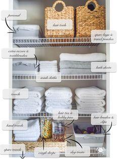 Organized Bathroom Linen Closet Anyone Can Have - Kelley Nan- Elfa door system with medicine storage solution