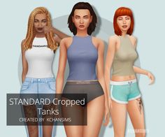 STANDARD Cropped Tanks Hey there everyone ~ I finally got around to making more CC!  This is an edited mesh I made from a top in Get Together (which I just bought in Origin's Black Friday sale, so happy) that's base game compatible. (should be anyway,...