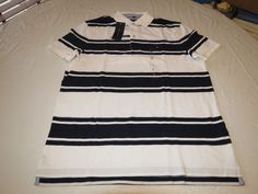 Mens Tommy Hilfiger Polo shirt Striped 7880966 White 100 S Classic Fit NWT #TommyHilfiger #polo