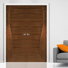 Contemporary Design Cadiz Walnut Prefinished Door Pair, 1/2 Hour Fire Rated. #moderndoors #contemporarydoors #deantadoors