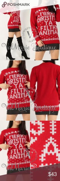 MERRY CHRISTMAS YOU FILTHY ANIMAL SWEATER Can anyone say... HOME ALONE?!? Yessss! This sweater is perfect and so comfortable and well made. Get one now as these will go fast and sold out already from the vendor. Merry Christmas you filthy animal 😂😂😂 fits true to size. 100% acrylic. S(2-4) M(6-8) L(10-12) ValMarie Sweaters