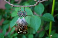 Natural Dream Catcher Earrings With Pheasant by nZuriArtDesigns