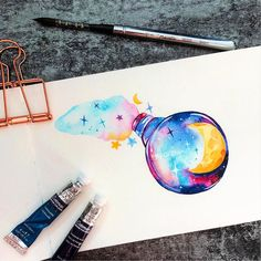 Make Your Art Successful – Create A Story With Your Drawing And Painting – Interesting Decor Watercolor Drawing, Watercolor Paintings, Watercolor Galaxy, Watercolor Projects, Drawing Sketches, Art Drawings, Art Prints For Home, Illustrators On Instagram, Art Auction
