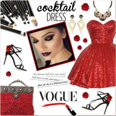 Cocktail Dress: Black and Red Sparkle