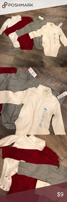 Bundle of 4 Turtleneck Onesies Bundle of 4 Turtleneck bodysuits with snaps at neckline for easy wear. Children's Place brand. Red and white wore 1x each. Gray and cream NWT. Children's Place One Pieces Bodysuits