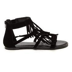 Fringe Fest Strappy Faux Suede Sandals BLACK (Final Sale) ($8.46) ❤ liked on Polyvore featuring shoes, sandals, black, black strappy sandals, strappy sandals, bohemian sandals, open toe shoes and fringe shoes