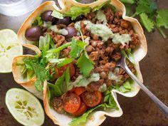 Lentil Walnut Vegan Taco Salad in a Crispy Tortilla Bowl