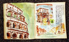 love love love - colosseum and arches, watercolor journal page over ledger paper <3