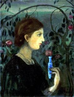 'Lány rózsalugasban' (Girl at rose arbor), Gulácsy Lajos Rose Arbor, Lany, Artist Art, Fine Art, Arbour, Flowers, Hungary, Seeds, Paintings