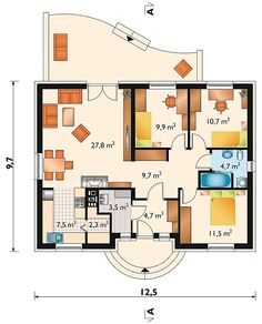 Big Houses, Little Houses, Building Design, Building A House, Office Plan, Bedroom House Plans, Double Room, Tiny House Plans, Facade Architecture