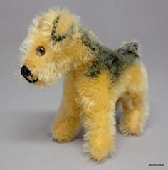 #Steiff Terry #Airedale Terrier Dog 10cm 4in Mohair Plush 1950s no ID Vintage