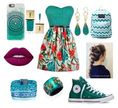 """""""Tropical!🌴"""" by jadyndaviscourt ❤ liked on Polyvore featuring Converse, JanSport, Casetify, Alexis Bittar, Lime Crime and Yves Saint Laurent"""