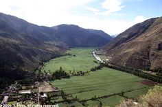 The Sacred Valley with the Urubamba River at right