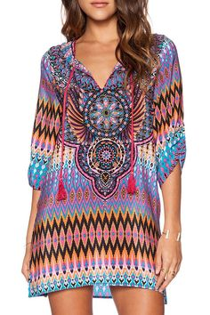 Tribal Print V Neck Half Sleeve Dress... new item! and many more retro 60-70's on the site