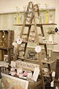 """This ladder display is the perfect visual to show how to """"pyramid"""" in your store."""