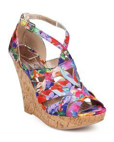 New-Women-Qupid-Glory-132-Floral-Peep-Toe-Criss-Cross-Weave-Cork-Wedge-Sandal-Sz