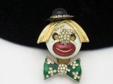 Delightful CINER  Rhinestone Enamel Figural Clown Brooch http://www.rubylane.com/item/931159-RL-234/Delightful-CINER-Rhinestone-Enamel-Figural $159.00