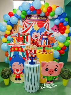 Payaso plim plim First Birthday Decorations Girl, 2nd Birthday Party Themes, Carnival Themed Party, Carnival Birthday Parties, Circus Birthday, Happy Birthday Sam, Baby Boy 1st Birthday, Circus 1st Birthdays, First Birthdays