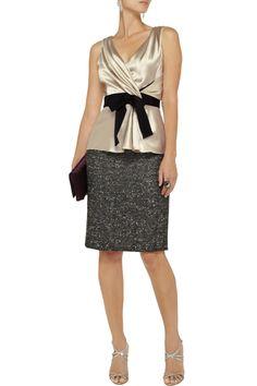 Gathered silk-satin blouse by Oscar de la Renta for THE OUTNET