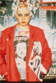 Debbie Juvenile wearing a 'God Save The Queen' t-shirt at Seditionaries, 1977.